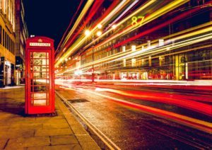 stock photo of a London telephone box at night