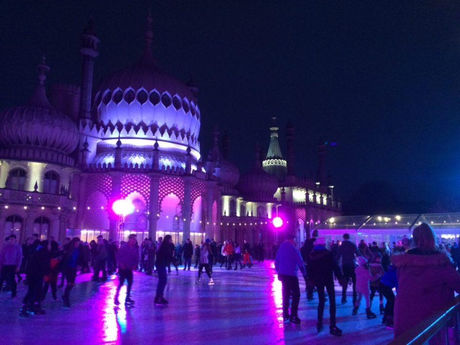 Royal Pavilion skating at night