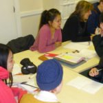 The teen course interviewing the adult students