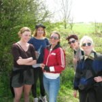 students on a walking trip around the countryside