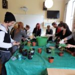 Students learning the different plants