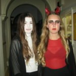 2 female students dressed up for halloween