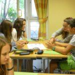 Teen class doing a group activity