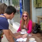 Students interviewing the public for a project