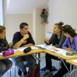 Teen class practicing speaking in class