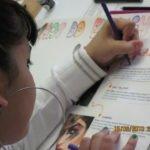Teen student doing class work