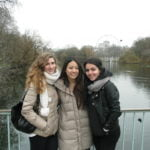 3 Female students in front of the London eye