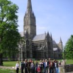 Group outside salisbury cathedral