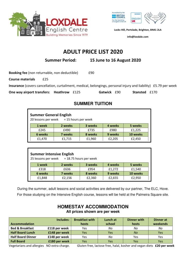 Adult price list 2020 August