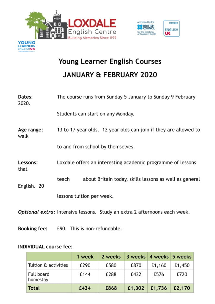 Young learner course 2020