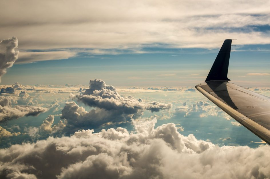 Clouds from the aircraft mirror