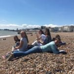 Loxdale language school students posing on the beach in Brighton