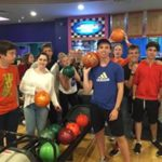 Loxdale language school students bowling on an evening activity