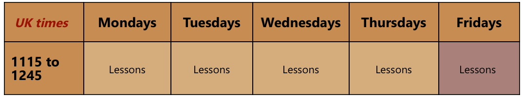 10 Lessons Per week adult online classes example timetable