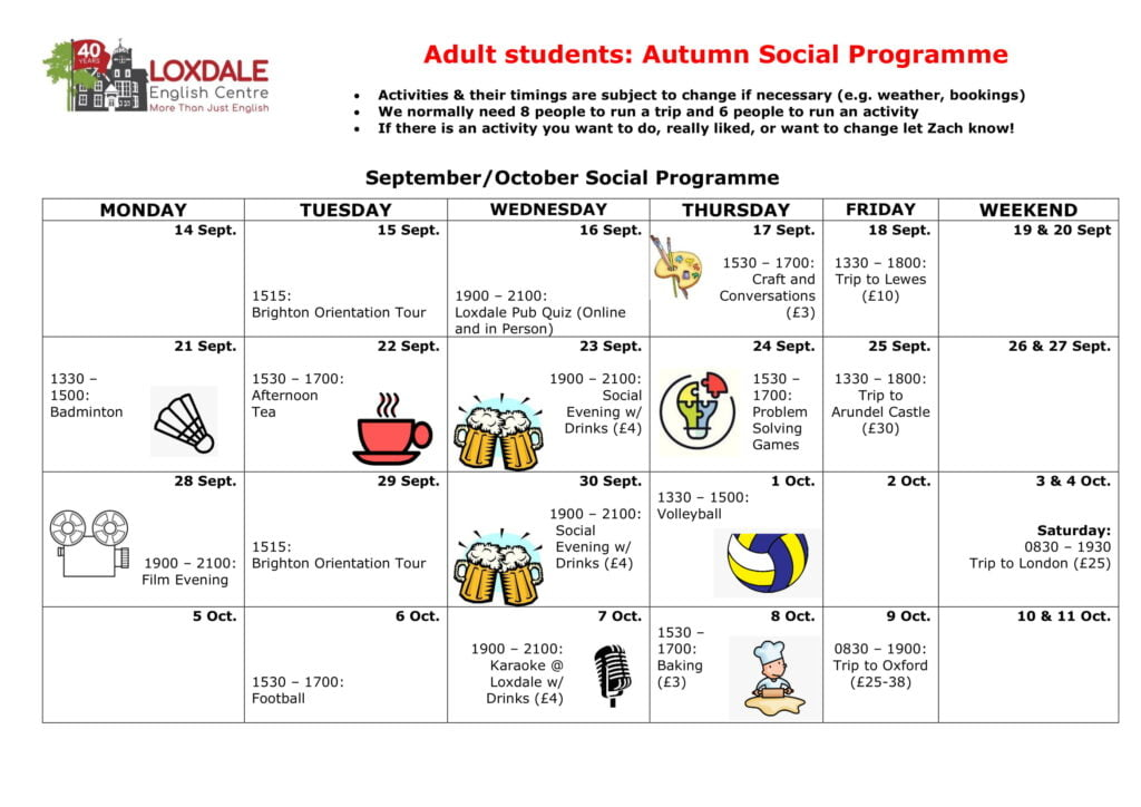 Adults students autumn calendar 1