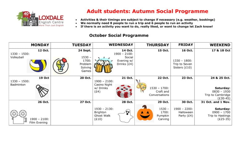Adults students autumn calendar 2