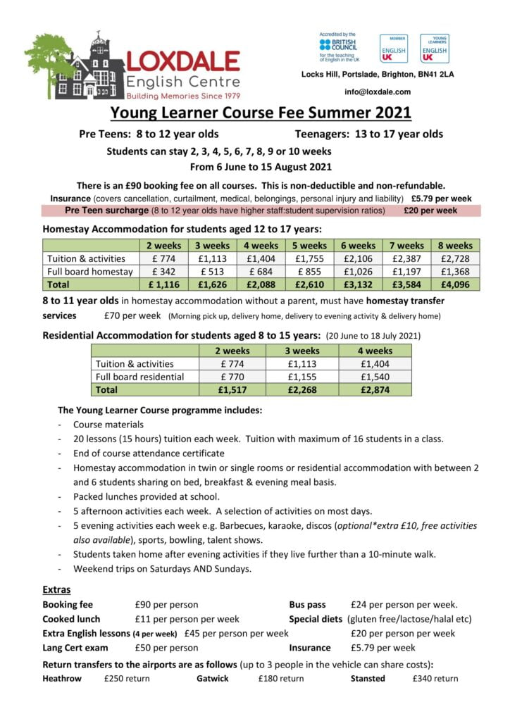 Young learner 2021 prices