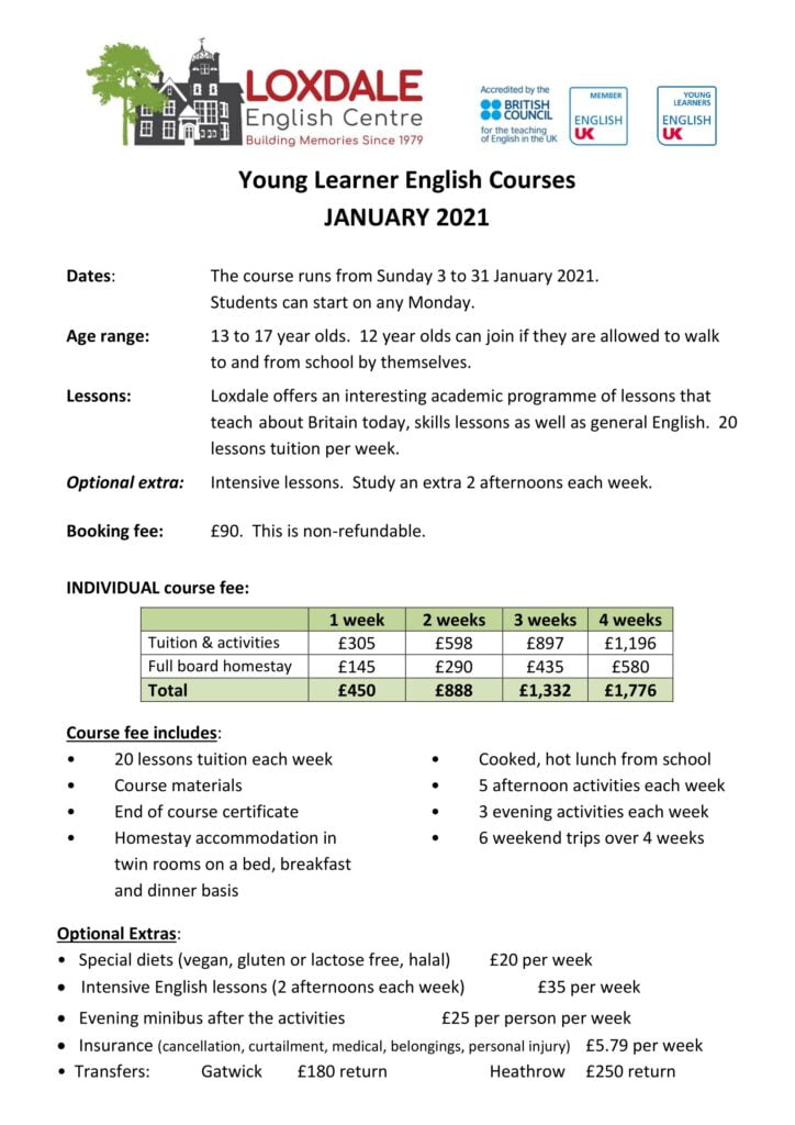 Young learner Individual prices 2021